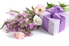 Flowers Photography Ribbon Nice Flower Bouquet Beautiful Elegant Cool Purple Gift Box Gentle Desktop Background