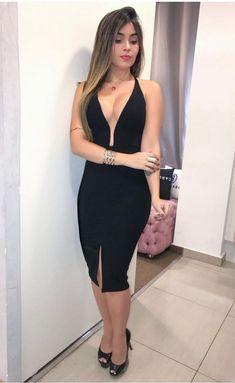 Deep V Neck Black Prom Dress , Tea Length Prom Dress - - Source by Tea Length Dresses, Tight Dresses, Sexy Dresses, Dress Outfits, Casual Dresses, Dresses For Work, Prom Dresses, Fashion Outfits, Formal Dresses