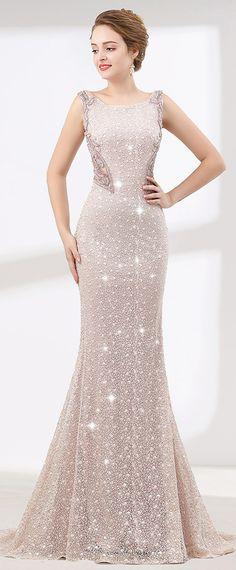 Splendid Lace Scoop Neckline Mermaid Evening Dress With Beadings & Sequins & Rhinestones