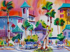 "Watercolor Print of Delray Beach, Florida: Matted Print ""Sunset on the Avenue"" featuring tropical beach, palm trees on Etsy, $40.00"