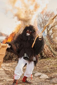People flock to the small town dressed up in elaborate costumes meant to scare away winter. Beast Costume, Local Legends, T Magazine, Busan, Ny Times, Deities, One Pic, Creatures, Costumes