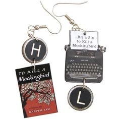 To Kill a Mockingbird Typewriter Earrings Other Accessories, Fashion Accessories, Typewriter Keys, Lawyer Gifts, Harper Lee, To Kill A Mockingbird, Literary Gifts, Vintage Typewriters, Dear Santa