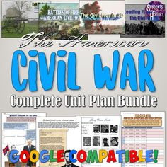This amazing Civil War Unit Bundle includes almost 50 activities for a month-long student-driven unit on the Civil War in US History! Included in the download are interactive notebook pages, Google Drive digital resources, PowerPoints, a film guide, primary sources, activities, projects, worksheet... Teaching Us History, Teaching American History, American History Lessons, History Education, Social Studies Lesson Plans, Social Studies Notebook, Teaching Social Studies, Civil War Activities, History Activities
