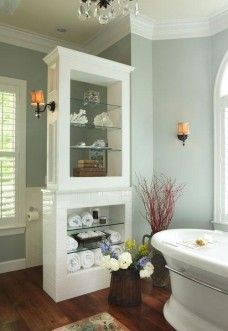 Storage Divider in bathroom to conceal toilet-pretty!...Home Decor