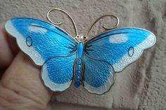 Attractive VERY LARGE Silver Enamel Butterfly Brooch - Hroar Prydz Norway  | eBay