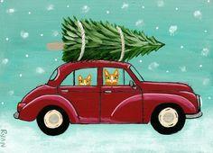 Kilkenny Cat Art: Bringing Home The Christmas Tree
