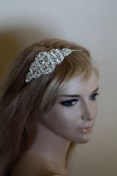 Crystal Head Band, Tiara, Swarovski Headband, Metal Headband, Rhinestone Tiara, Side flower band, Hair Accessories.
