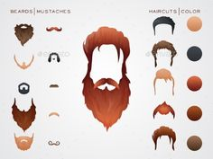 Beards and Hairstyles in constructor. Vector Illustration.