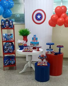 30 ideas cake birthday boy super heros baby shower for 2019 30th Party, 4th Of July Party, 4th Birthday Parties, Boy Birthday, Cake Birthday, Balloon Decorations, Baby Shower Decorations, Captain America Party, Best Cake Mix