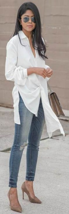 oversized white shirt + perfect choice + smart yet stylish + every day look + Sheryl Luke + shirt + distressed denim jeans + pair of nude heels. Denim Shoes, Shoes With Jeans, High Jeans, White Jeans Winter, Modern Bridesmaid Dresses, How To Wear Joggers, Oversized White Shirt, Badgley Mischka Shoes Wedding, How To Wear Heels