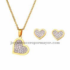 juego collar y aretes de forma corazon cristal en acero dorado inoxidable…