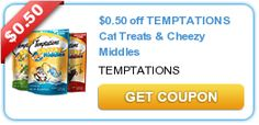 $0.50 off TEMPTATIONS Cat Treats & Cheezy Middles