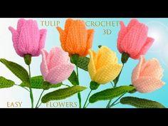 How To Crochet Tulip Flowers - Crochet Ideas Crochet Stars, Love Crochet, Learn To Crochet, Crochet Motif, Crochet Baby, Tulips Flowers, Lace Flowers, Crochet Flower Patterns, Crochet Flowers