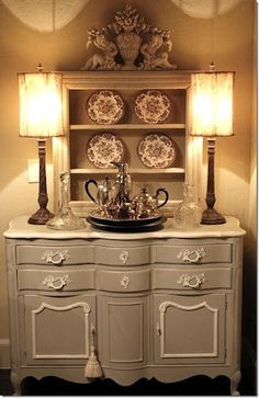 Painted french buffet with marble top. Splendid!!!