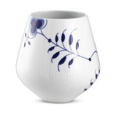 Royal Copenhagen - Vase 15 cm Blaa Mega Riflet 2. Sortering