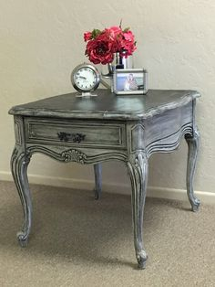 beautiful french provincial end table slightly distressed the top was enhanced with a gorgeous black paint furniturefurniture ideasgel