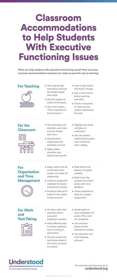 Graphic of Classroom accommodations to help students with executive functioning issues