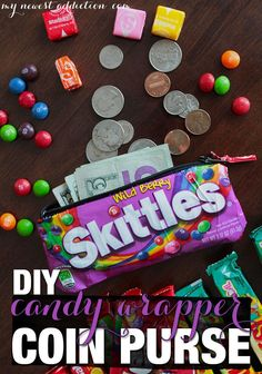 DIY candy wrapper coin purse