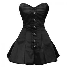 So lovely, I want this!  GC-1029 - Black Satin Style Corset with Long Flared Trim-MADE TO ORDER