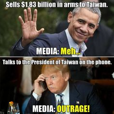 Liberal idiots lose their minds over Taiwan calling and congratulating Trump, but silent about Obama selling them arms