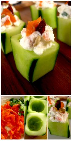 Cucumber stuffed with smoked salmon and cream cheese