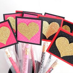 Gold Glitter Pencil Valentines - Personalized Pencil Filled Kids Valentines for School Exchange - Premium Valentine Pencil Party Favors