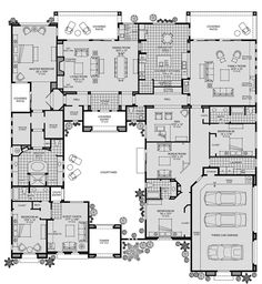 Treviso is an outstanding new home community in Scottsdale, AZ that offers a variety of luxurious home designs in a great location. - Luxury Homes House Plans One Story, New House Plans, Dream House Plans, Story House, House Floor Plans, My Dream Home, Bedroom Floor Plans, Dream Homes, The Plan