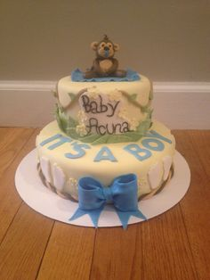 Monkey themed baby shower cake. By Jaxi