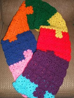 """Autism Awareness puzzle scarf, your choice of either infinity or regular(+-6' long) 8"""" wide, 128 separate pieces attached - $40  This is a one woman business who needs your support...."""