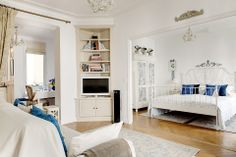 small but beautiful & vintage paris apartment rental - white french living room