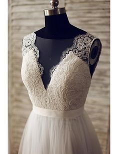 A-line Wedding Dress - Glamorous & Dramatic See-Through Wedding Dresses Sweep / Brush Train V-neck Lace / Tulle with Button / Lace 2016 - $194.59