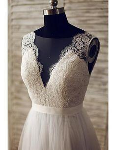 Hochzeitskleid - Elfenbein Spitze / Tüll - A-Linie - Blusher/ Pinsel -Schleppe - V-Ausschnitt 2016 - £97.99