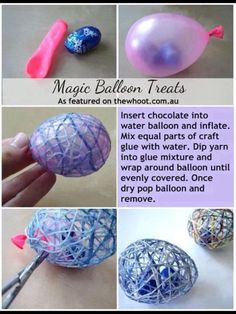 Equal parts craft glue and water. Dip in yarn or string and wrap around inflated water balloon. Let dry, pop balloon and place in your decorating spot.