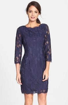 The sleeves look a little baggy here, but according to the reviews online, the sleeves run tight? Adrianna Papell Lace Sheath Dress available at #Nordstrom