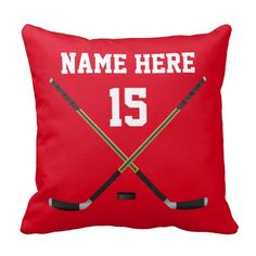 Personalized Hockey Pillows for your  NAME, your Jersey NUMBER. CLICK: http://www.zazzle.com/pd/spp/pt-dawsonsf_throwpillow?dz=126f2f99-654a-4c51-9a31-a8a1fa4857cc&clone=true&pending=true&fabric=poly&style=16x16&design.areas=%5Bmojo_pillow_16x16_front%2Cmojo_pillow_16x16_back%5D&view=113829903915989082&CMPN=shareicon&lang=en&social=true&rf=238147997806552929 Change COLORS. See more Personalized Hockey Gifts for Boys and Men and cool Hockey Themed Rooms…