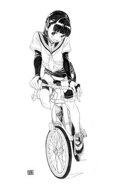 'A Japanese Bicycle-Girl' See other ideas and pictures from the category menu…. Faneks healthy and active life ideas Manga Drawing, Manga Art, Manga Anime, Wie Zeichnet Man Manga, Beautiful Sketches, Anime Kunst, Girls Anime, Bicycle Art, Anime Poses