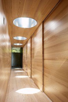 Natural wood interior design vestibule