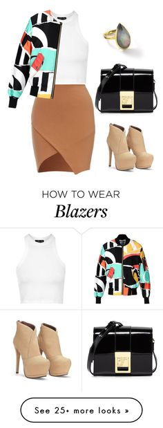 """Colorful blazer #233"" by thereseatarwang on Polyvore featuring Topshop, Moschino, Versace, Ippolita, women's clothing, women, female, woman, misses and juniors"