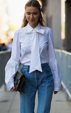 Jeans And White Bow Blouse