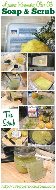 Lemon Rosemary Soap & Scrub Tutorial #homemade #homegrown #gifts from 3Peppers-Recipes.com
