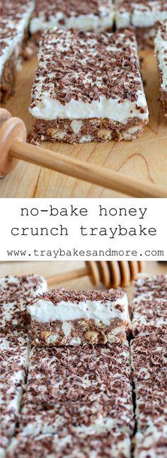 No-Bake Honey Crunch Traybake - traybakes & Tray Bake Recipes, Easy Baking Recipes, Honey Recipes, Easy Cookie Recipes, Sweet Recipes, Dessert Recipes, Retro Recipes, No Cook Desserts, Just Desserts