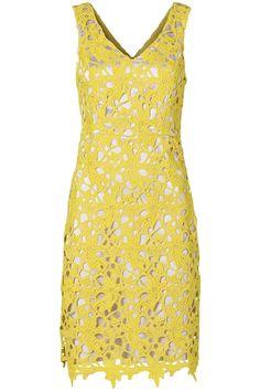 Kanten jurk met V-hals en brede schouderbanden Limegroen