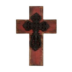 Distressed Red Wooden Cross Plaque