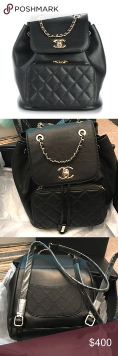 Chanel backpack chanel backpack comes with magnet box , dust bag , shopping bag . No serial code inside . NOT authentic . Being honest ! It's highly made . 100% guarantee . Selling because I need $$ for tuition ! Currently selling for $4,200 . Reasonable Offers are welcome . Keep in mind this isn't a cheap copy it's high quality made . Less on ♏️ercari ! Used once for a 2 hour photoshoot in great condition ! CHANEL Bags