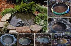 Used tractor tire pond.