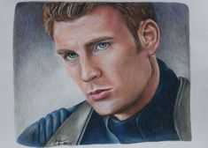 Captain America / Chris Evans print of colored by CJepsenFineArt