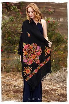 Jardin de Corsaire Noir Shawl — Seasons by The Kashmir Company Kashmiri Shawls, Embroidery Designs, Hand Embroidery, Cashmere Shawl, Indian Textiles, Costume Dress, Indian Wear, Renoir, Clothes For Women