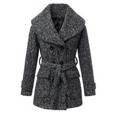 Graceful Turn-Down Collar Thicken Worsted Double-Breasted Long Sleeve Coat with Belt For Women