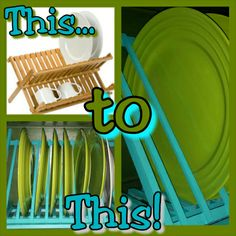 How to turn a dish drying rack into a plate rack... Who knew??? Directions on the blog....