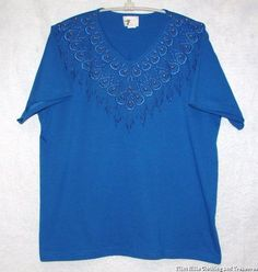 Womens Western Decorative Fringe Designer T Shirt by Hummingbird Size L 42"
